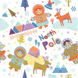 Colorful Eskimos and reindeer on north pole Stock Images