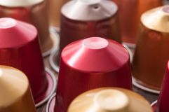 Colorful espresso coffee doses. Closeup of colorful espresso coffee doses royalty free stock photos