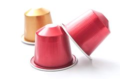 Colorful espresso coffee doses. Closeup of colorful espresso coffee doses royalty free stock image