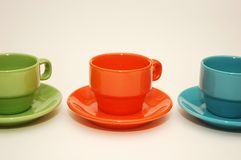 Colorful espresso cups isolated on white Royalty Free Stock Image