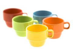 Colorful Espresso Mugs Stock Photography