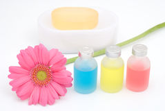 Colorful essential oil and flower Stock Images