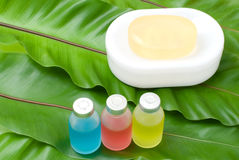 Colorful essential oil and soap Royalty Free Stock Photos