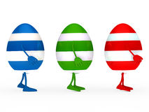 Colorful estern eggs go Stock Photos