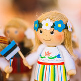 Colorful Estonian Wooden Dolls At The Market Royalty Free Stock Images