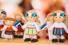 Colorful Estonian Wooden Dolls At The Market Stock Images