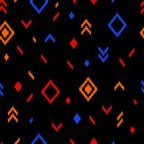 Colorful ethnic abstract geometric pattern on black, vector. Background Stock Photo