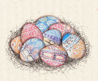 Colorful ethnic eggs in bird nest for Easter day greeting card. Acrylic painting element Royalty Free Stock Photo