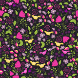 Colorful ethnic flower seamless pattern. Mexican flower pattern. Flower seamless pattern with leaves and birds on dark Royalty Free Stock Photos