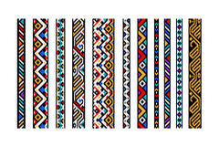Colorful ethnic geometric aztec seamless borders set, vector Stock Image