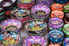 Colorful ethnic hand painted Turkish ceramic plates souvenirs traditional royalty free stock photos