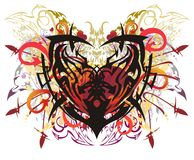 Colorful ethnic heart in grunge style. Tribal symbol - heart with the elements of arrows and linear butterfly wings, twirled floral elements on a white stock illustration