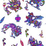 Ethnic ornament mythical monsters couple inspired by fusion of Ukrainian, Indian and Mexican traditional motifs royalty free illustration