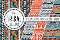 Colorful ethnic patterns collection. Set of 4 modern abstract seamless backgrounds. vector illustration