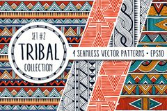 Colorful ethnic patterns collection. Set of 4 modern abstract seamless ornaments. All patterns are available under the clipping mask. EPS10 vector illustration Stock Photography