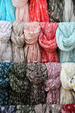 Colorful ethnic scarves. Some colorful ethnic scarves from north africa, at a fair, portrait cut Royalty Free Stock Images