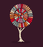 Colorful ethnic style concept tree illustration Stock Photo