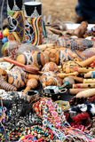 Colorful ethnic trinkets and sundries. Some colorful ethnic trinkets and sundries, from north africa, at a fair, portrait cut Royalty Free Stock Image