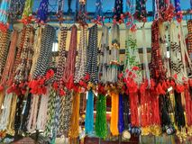 Colorful ethnic wooden beads necklace. In indian market Royalty Free Stock Images