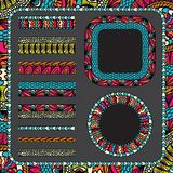 Colorful ethnicity collection ornamental stripes Royalty Free Stock Images