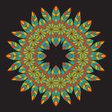 Colorful ethnicity round ornament on the black background . Circ Stock Images