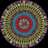 Colorful ethnicity round ornament, mosaic vector Royalty Free Stock Photo