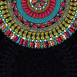 Colorful ethnicity round ornament, mosaic vector Royalty Free Stock Images