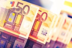 Colorful Euro Banknotes. Closeup Photo. European Currency and Economy Concept Photo Royalty Free Stock Image