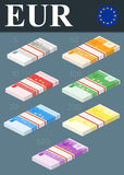 Colorful euro banknotes. Isometric design  illustration. Royalty Free Stock Image