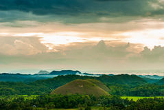 Colorful evening at the chocolate hills Stock Photography