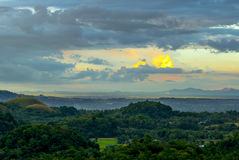 Colorful evening at the chocolate hills Royalty Free Stock Image
