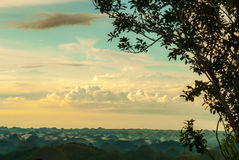 Colorful evening at the chocolate hills Royalty Free Stock Photo