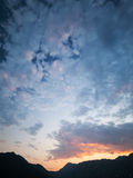 Colorful evening cloudscape in Bay of Kotor Royalty Free Stock Photo