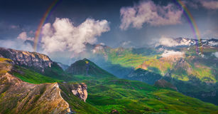Colorful evening scene with a rainbow Stock Photo
