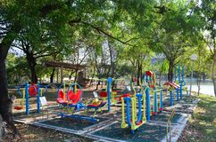 Colorful exercise equipment in public park Stock Photography
