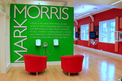 Colorful exhibit, with chairs and speakers to listen to audio on Mark Morris's life of dance,Dance Museum,Saratoga, 2016 Stock Images