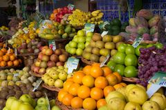 Colorful exotic fruit market stall Stock Image