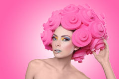 Colorful Exotic Image of Woman Wearing Candy Makeup Stock Photography