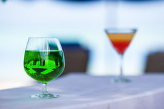 Colorful exotic tasty cocktails in outdoor cafe Stock Image