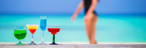 Colorful exotic tasty cocktails in outdoor cafe Stock Photography