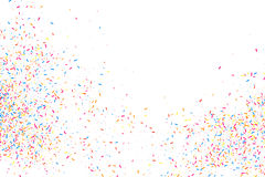 Colorful explosion of confetti.  Colored grainy texture vector. Colorful explosion of confetti. Grainy abstract  multicolored texture  on white background. Flat Royalty Free Stock Photography