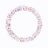 Colorful explosion of confetti. Grainy abstract colorful texture. Isolated on a white background. Flat design element. Vector illustration Stock Photos