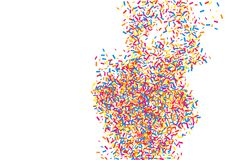 Colorful explosion of confetti.  Colored grainy texture vector. Stock Images