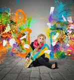 Colorful explosion music Royalty Free Stock Photography