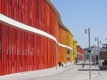 Colorful Expo buildings in Zaragoza royalty free stock images