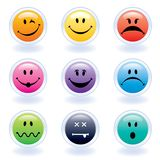 Colorful Expression Face Buttons. Nine colorful internet face buttons of different expressions Royalty Free Stock Images
