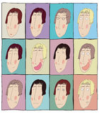Colorful expression faces icons set, avatars, doodles. Colorful emotion faces, icons set, avatars, doodles Stock Photo