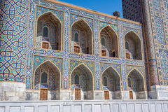 Colorful exterior of tilya-kori madrasah, Samarkand Registan Royalty Free Stock Images