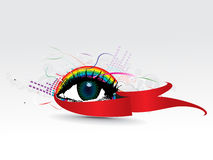 Colorful eye. With abstract rainbow wave background, vector illustration royalty free illustration