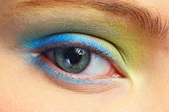 Colorful Eye. Young women with Colorful Eye Royalty Free Stock Photos